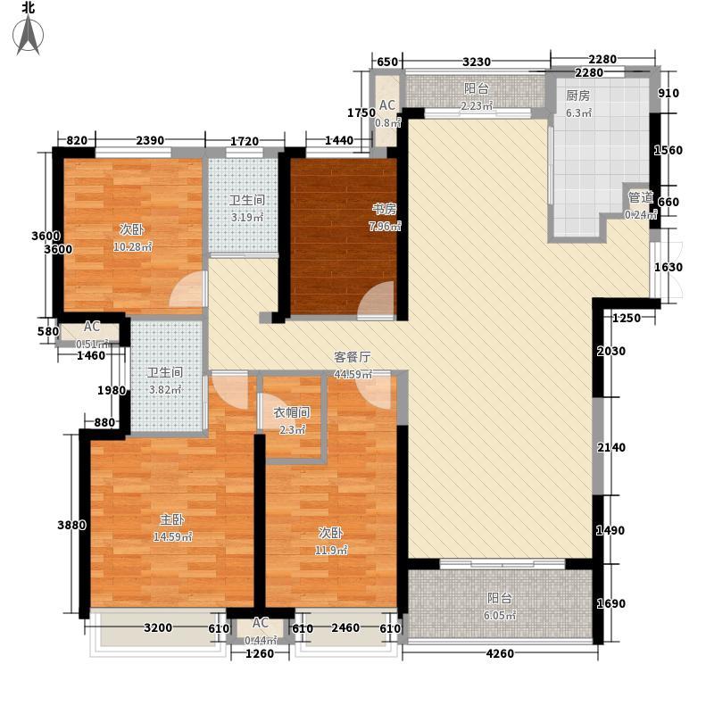 融科城164.00㎡融科城户型图一期D1户型4室2厅2卫1厨户型4室2厅2卫1厨
