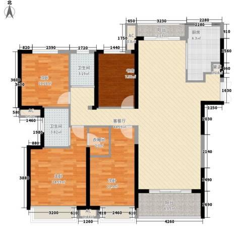融科城4室1厅2卫1厨164.00㎡户型图