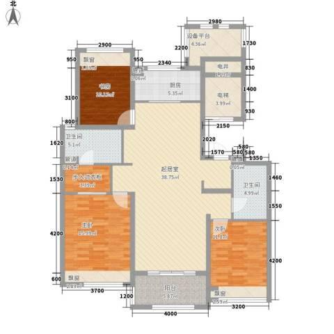 万科草庄3室0厅2卫1厨159.00㎡户型图