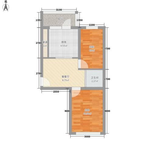 先行国际2室1厅1卫1厨53.00㎡户型图
