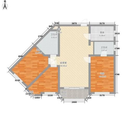 王子公寓3室0厅2卫1厨119.00㎡户型图