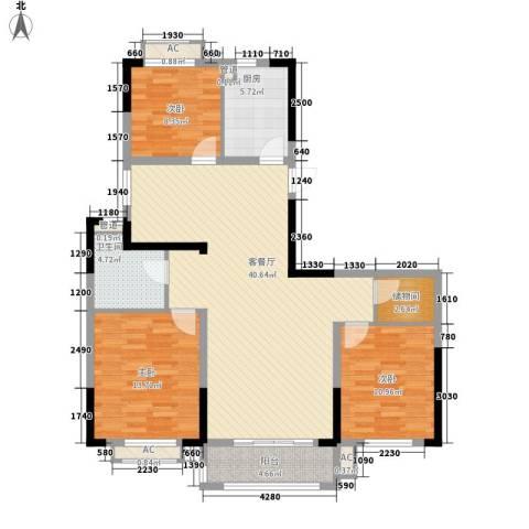 广弘城国际社区3室1厅1卫1厨107.39㎡户型图