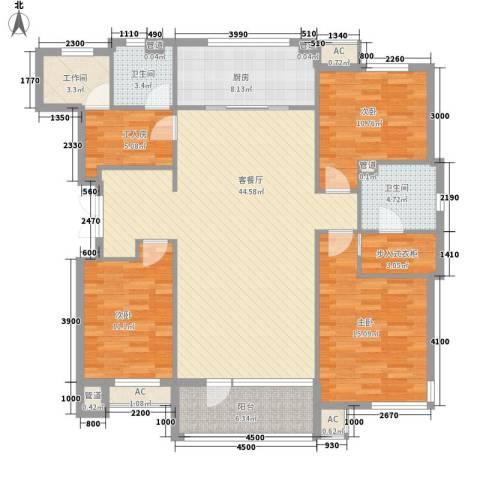 桦林苑3室1厅2卫1厨150.00㎡户型图