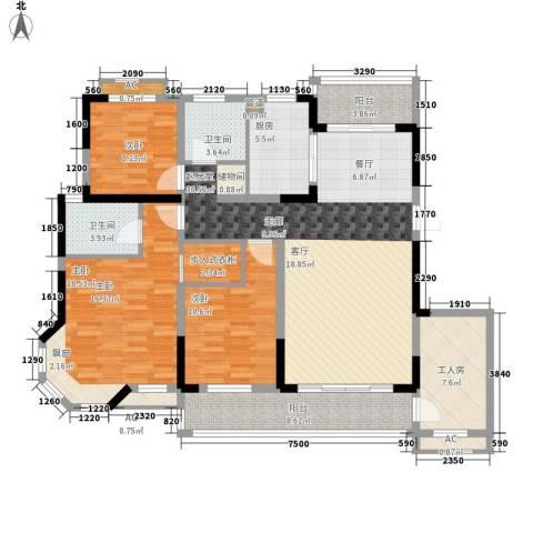 广弘城国际社区3室0厅2卫1厨129.84㎡户型图