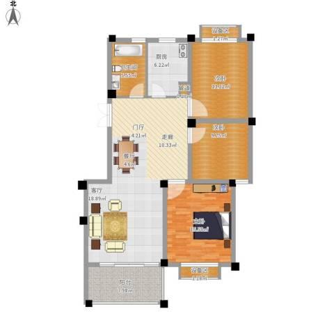 滨河阳光3室1厅1卫1厨140.00㎡户型图