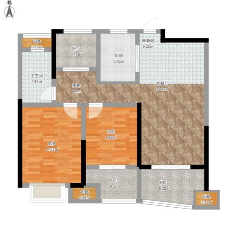 昆山颐景园2室1厅1卫1厨124.00㎡户型图