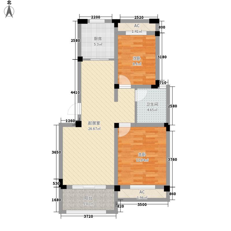 芦墅星苑96.32㎡H户型2室2厅1卫1厨