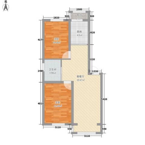 幸福馨城2室1厅1卫1厨83.00㎡户型图