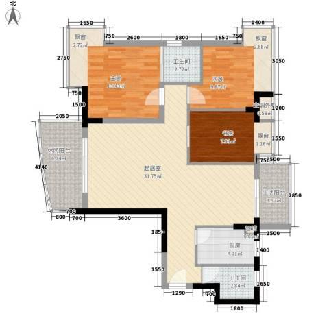 瑞海水城3室0厅2卫1厨102.00㎡户型图