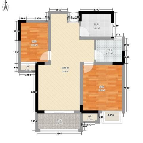 天成雅居2室0厅1卫1厨86.00㎡户型图