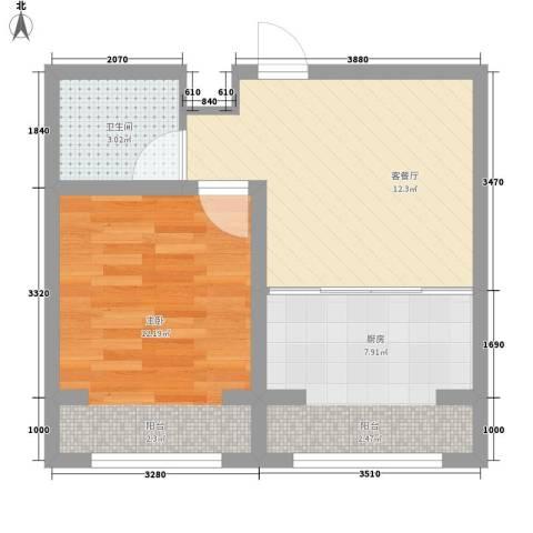 幸福馨城1室1厅1卫1厨52.00㎡户型图