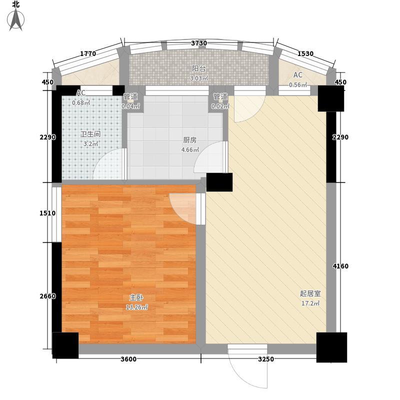 祥瑞蓝堡国际公寓5.74㎡B户型1室2厅1卫1厨