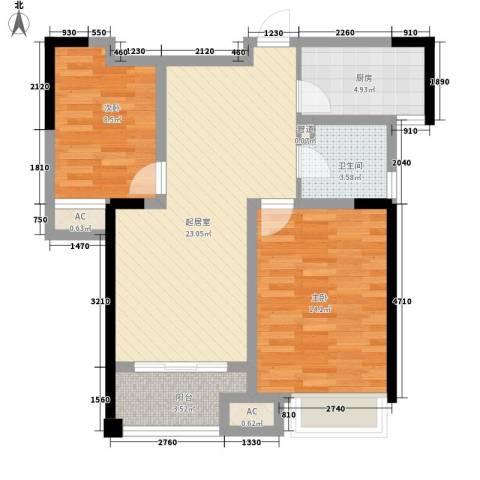 天成雅居2室0厅1卫1厨90.00㎡户型图