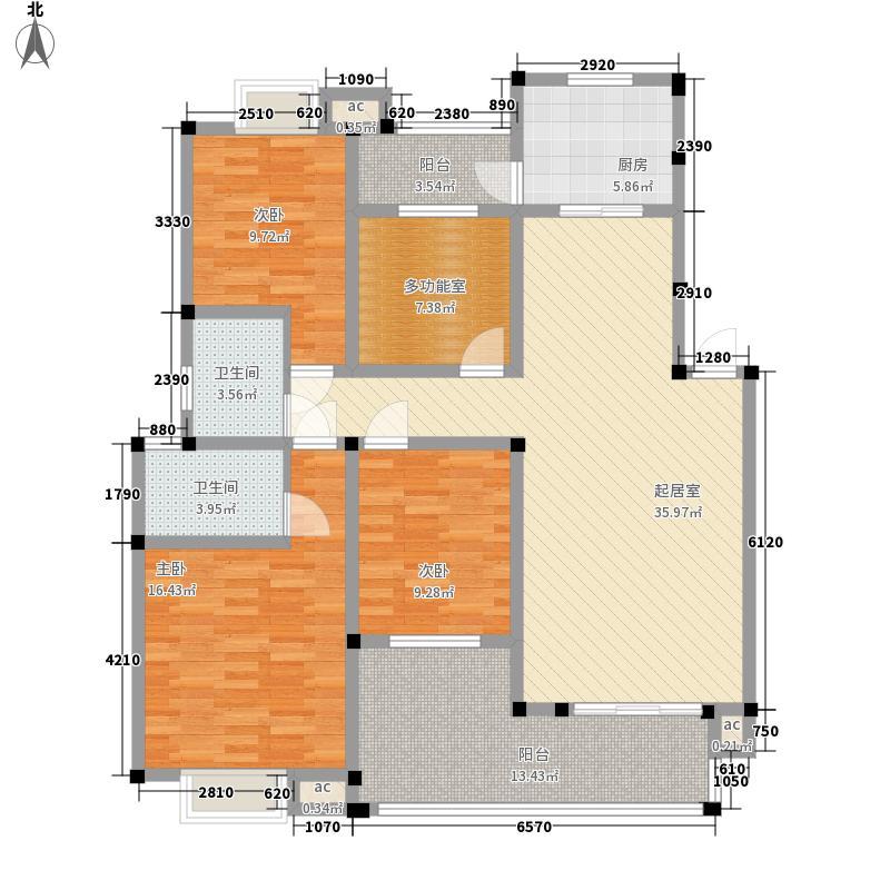 雍景蓝庭122.24㎡B型户型3室2厅2卫1厨