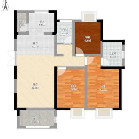蓝鼎海棠湾3室1厅2卫1厨126.00㎡户型图