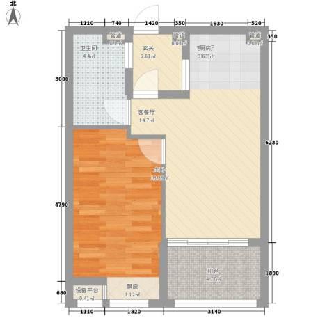 书院1号公寓1室1厅1卫0厨66.00㎡户型图