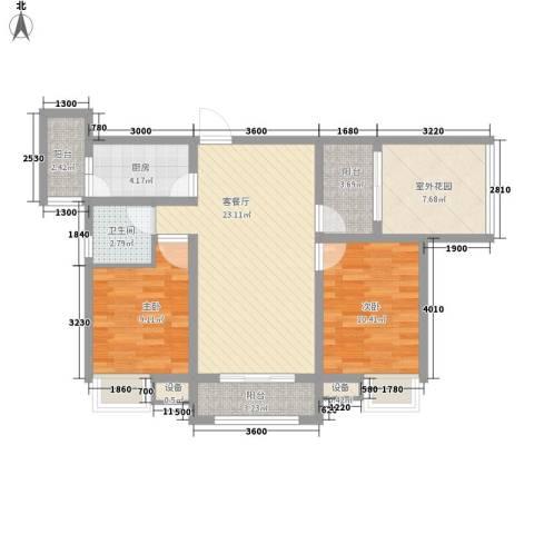 南湖林语2室1厅1卫1厨85.00㎡户型图