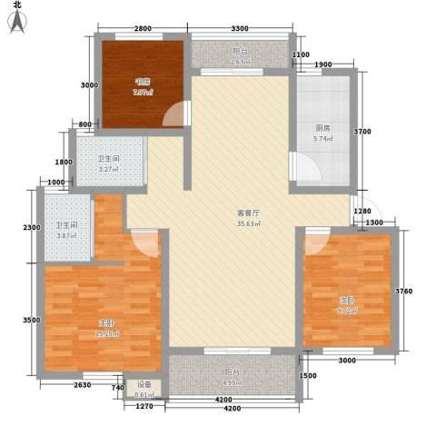 南湖林语3室1厅2卫1厨116.00㎡户型图