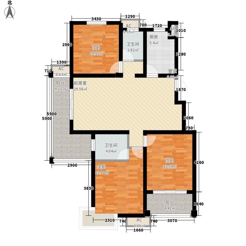 香堤花园136.02㎡A户型3室2厅2卫1厨