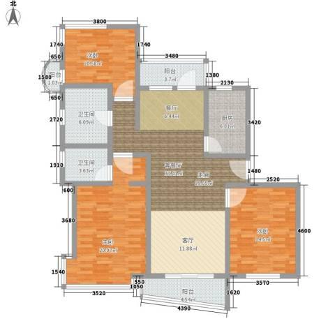 富弘苑3室1厅2卫1厨122.00㎡户型图