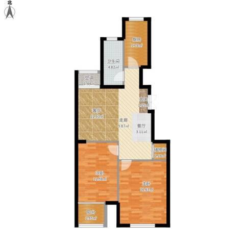 逸城山色2室1厅1卫1厨101.00㎡户型图