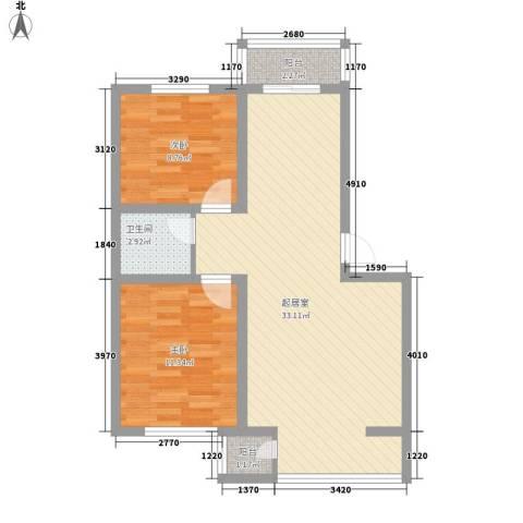 富云新都2室0厅1卫0厨86.00㎡户型图