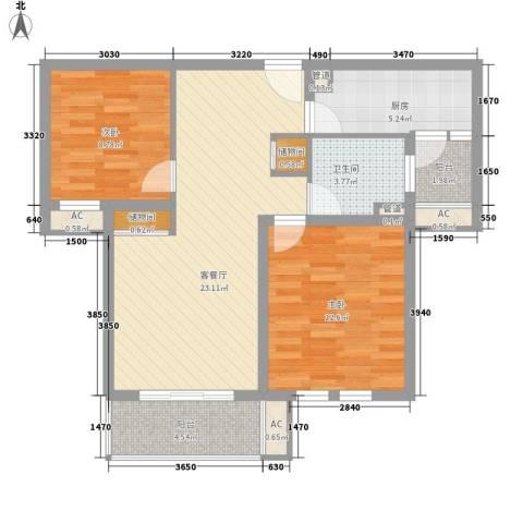 农房・英伦尊邸2室1厅1卫1厨92.00㎡户型图