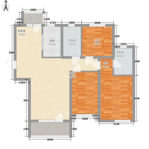 安邦北湾3室0厅2卫1厨123.00㎡户型图