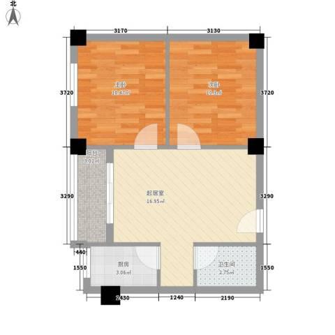 良友新苑2室0厅1卫1厨67.00㎡户型图