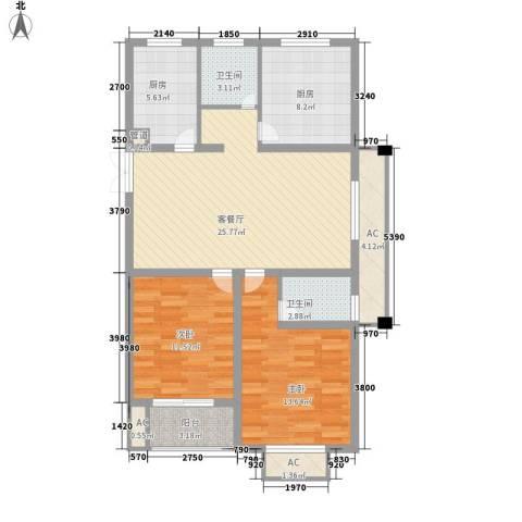 香梅人家2室1厅2卫2厨116.00㎡户型图
