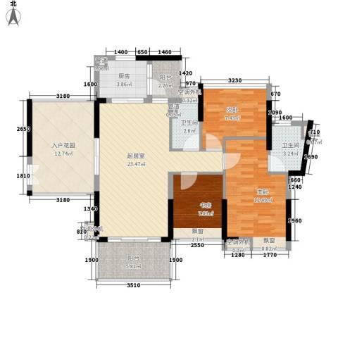 滨湖壹号3室0厅2卫1厨116.00㎡户型图