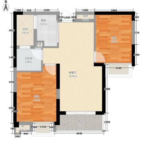融科城2室1厅1卫1厨80.00㎡户型图