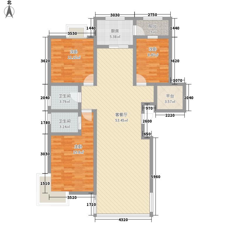 锦华名居13.00㎡优雅尚居户型3室2厅2卫1厨