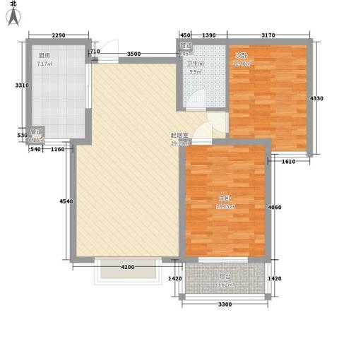 天鸿尚都2室0厅1卫1厨68.77㎡户型图
