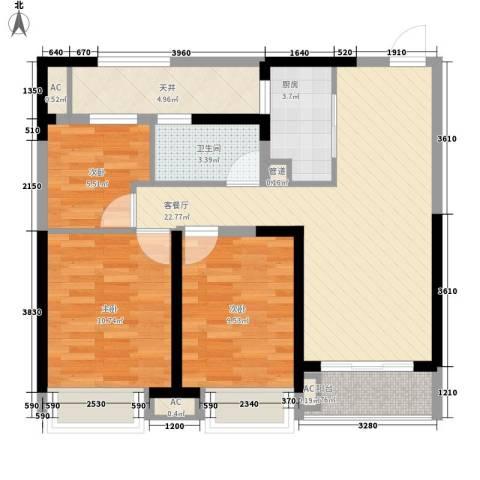 融科城3室1厅1卫1厨95.00㎡户型图