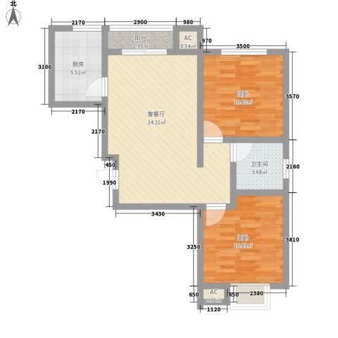 栖祥苑别墅2室1厅1卫1厨85.00㎡户型图