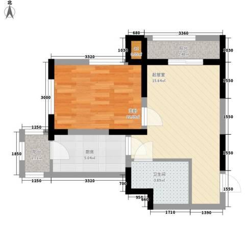 心源家园1室0厅1卫1厨58.00㎡户型图