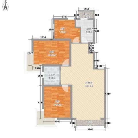 富云新都3室0厅1卫1厨118.00㎡户型图
