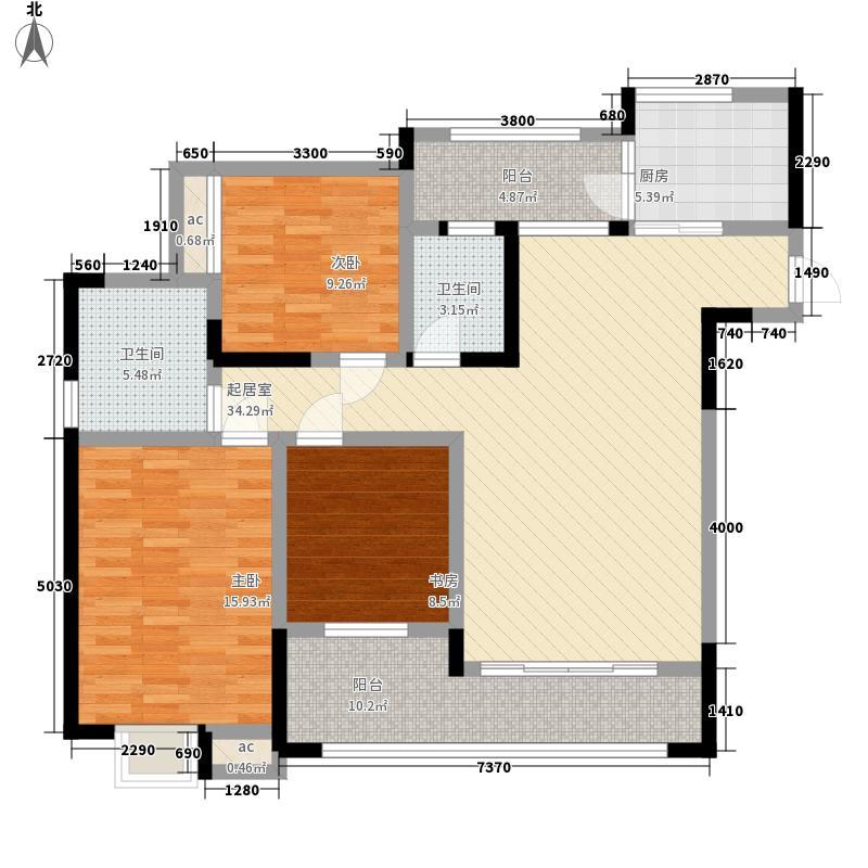 森柯香渝园124.78㎡第2栋3号户型3室2厅2卫1厨