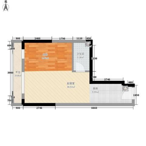 筑石银座1卫0厨45.00㎡户型图
