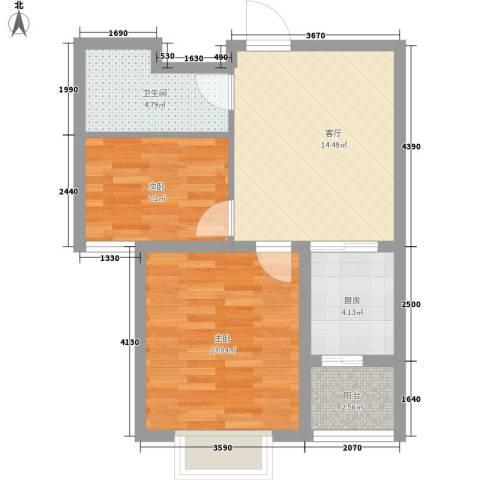 富云新都2室1厅1卫1厨67.00㎡户型图