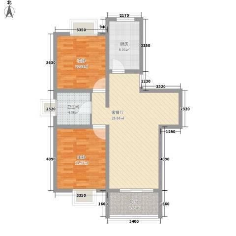 美兰湖颐景园别墅2室1厅1卫1厨93.00㎡户型图