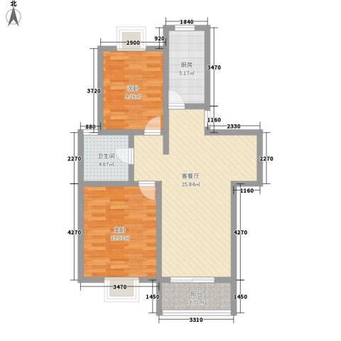 美兰湖颐景园别墅2室1厅1卫1厨89.00㎡户型图