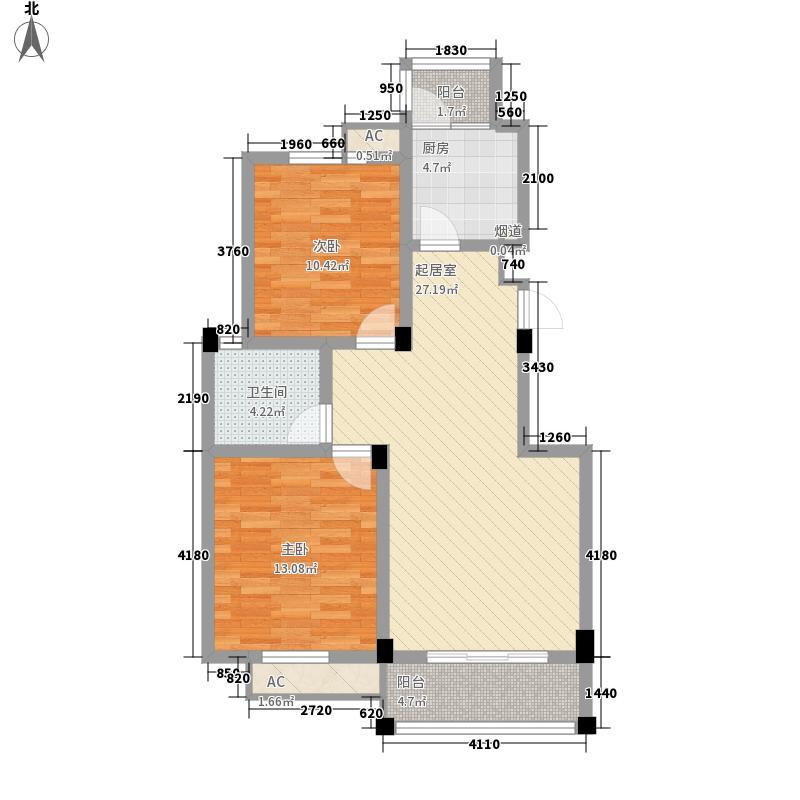 香堤花园97.30㎡D户型2室2厅1卫1厨