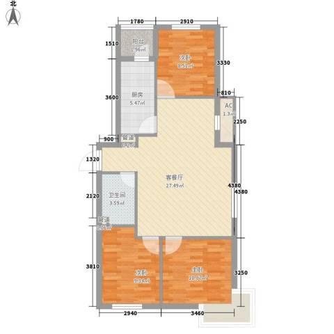 居易青年城3室1厅1卫1厨96.00㎡户型图