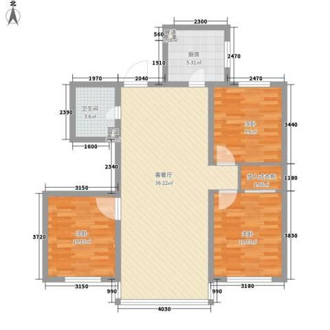 居易青年城3室1厅1卫1厨109.00㎡户型图
