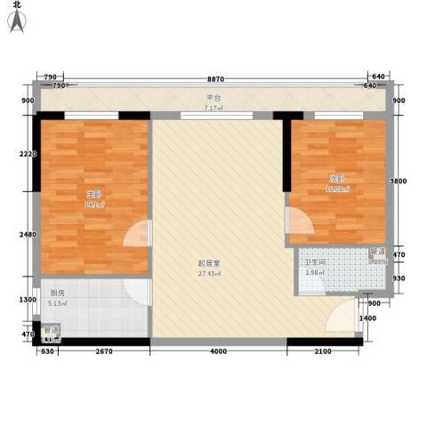 筑石银座2室0厅1卫1厨83.00㎡户型图