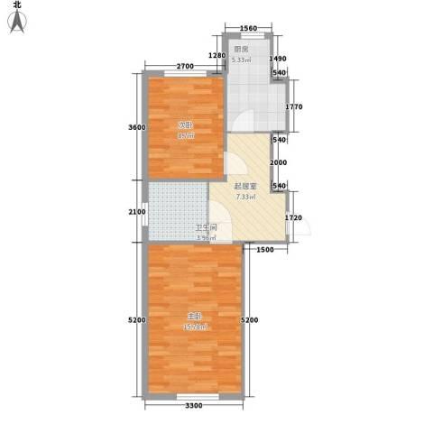 上台花园2室0厅1卫1厨58.00㎡户型图