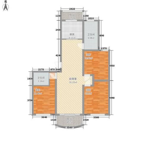 齐盛世纪花园3室0厅2卫1厨128.00㎡户型图