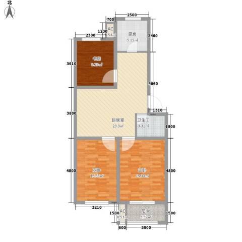 北斗星城东区・御府3室0厅1卫1厨74.57㎡户型图
